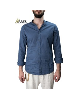 CAMICIA IN LINO WILLIAM BLU...